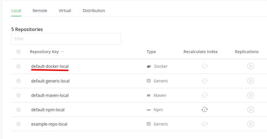 default artifactory repositories